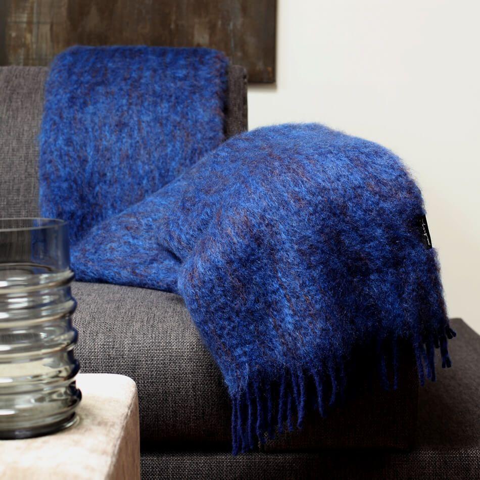 Wolldecke Blau Mohair 130 X 200 Cm Wolldecke Decke Blau
