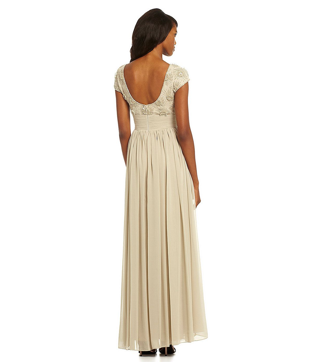White and Gold Wedding. Bridesmaid Dress.  JS Collections Floral Beaded Bodice Gown | Dillards.com