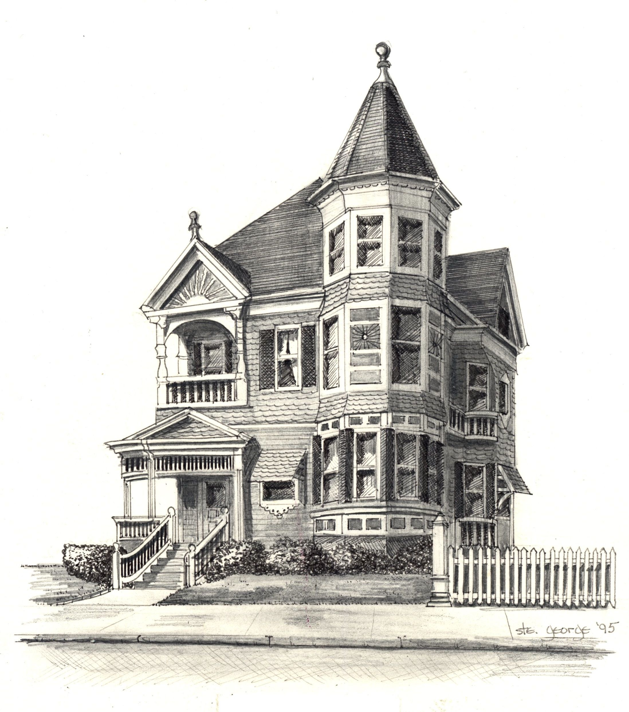 Victorian house drawing for kids bucket for Classic house tutorial