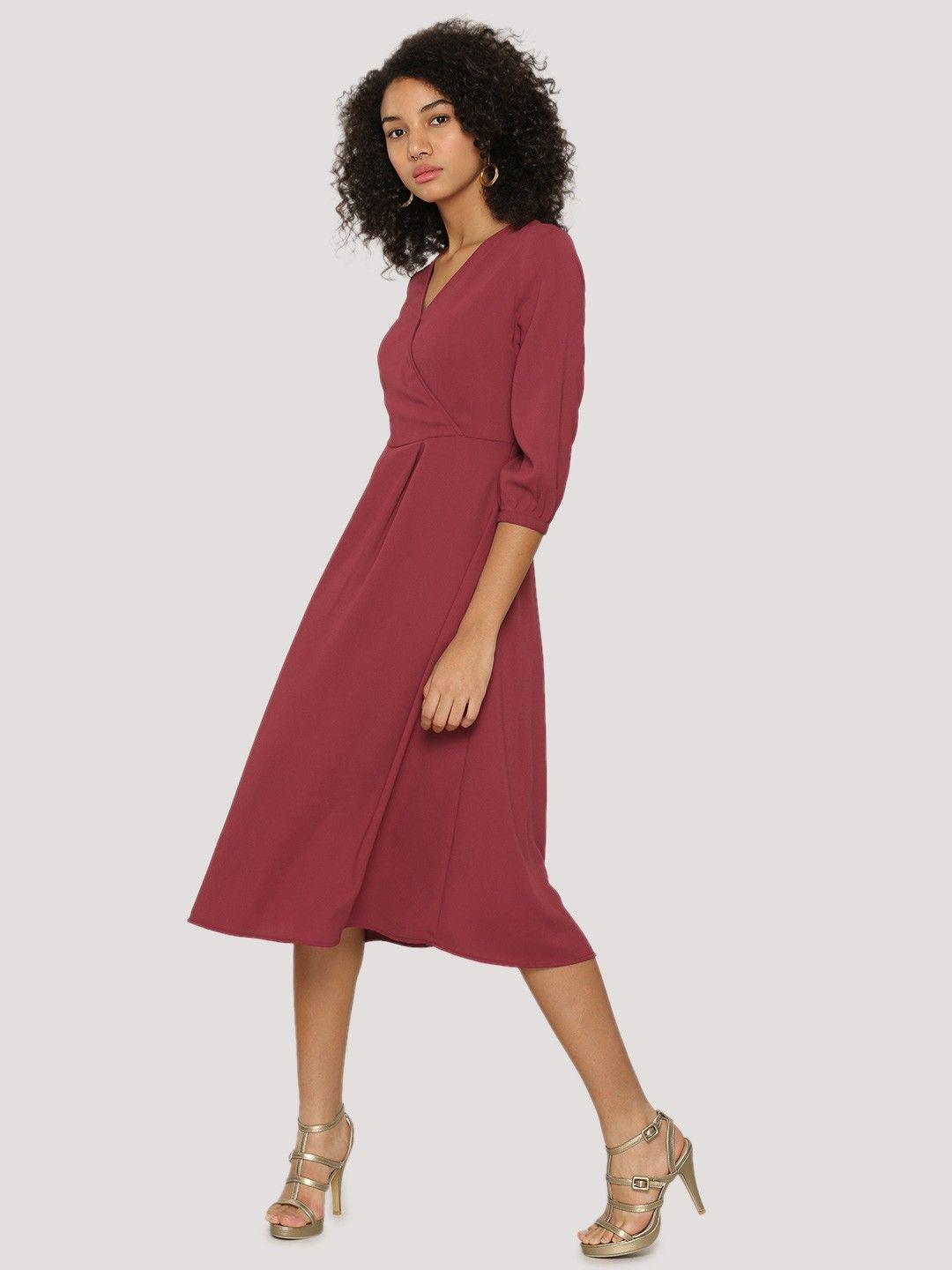 384953ddb042 Buy Front Wrap Midi Dress For Women - Women s Maroon Midi Dresses Online in  India