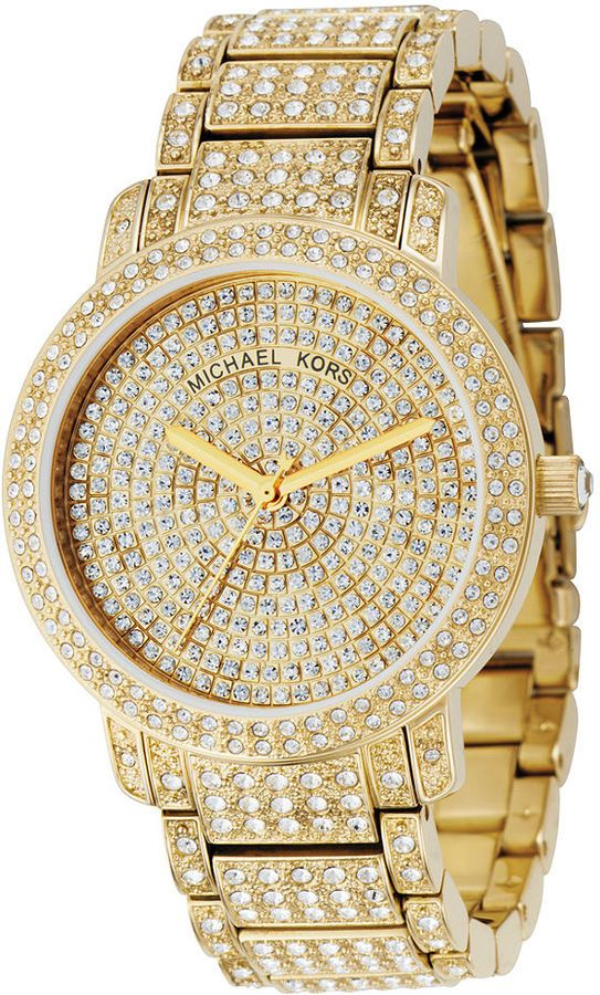 cfdfe48cd0529 Michael Kors Crystal Gold Tone Stainless Steel Watch   ACCESSORIZE ...