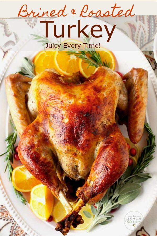 Brined & Roasted Turkey #turkeyrecipes