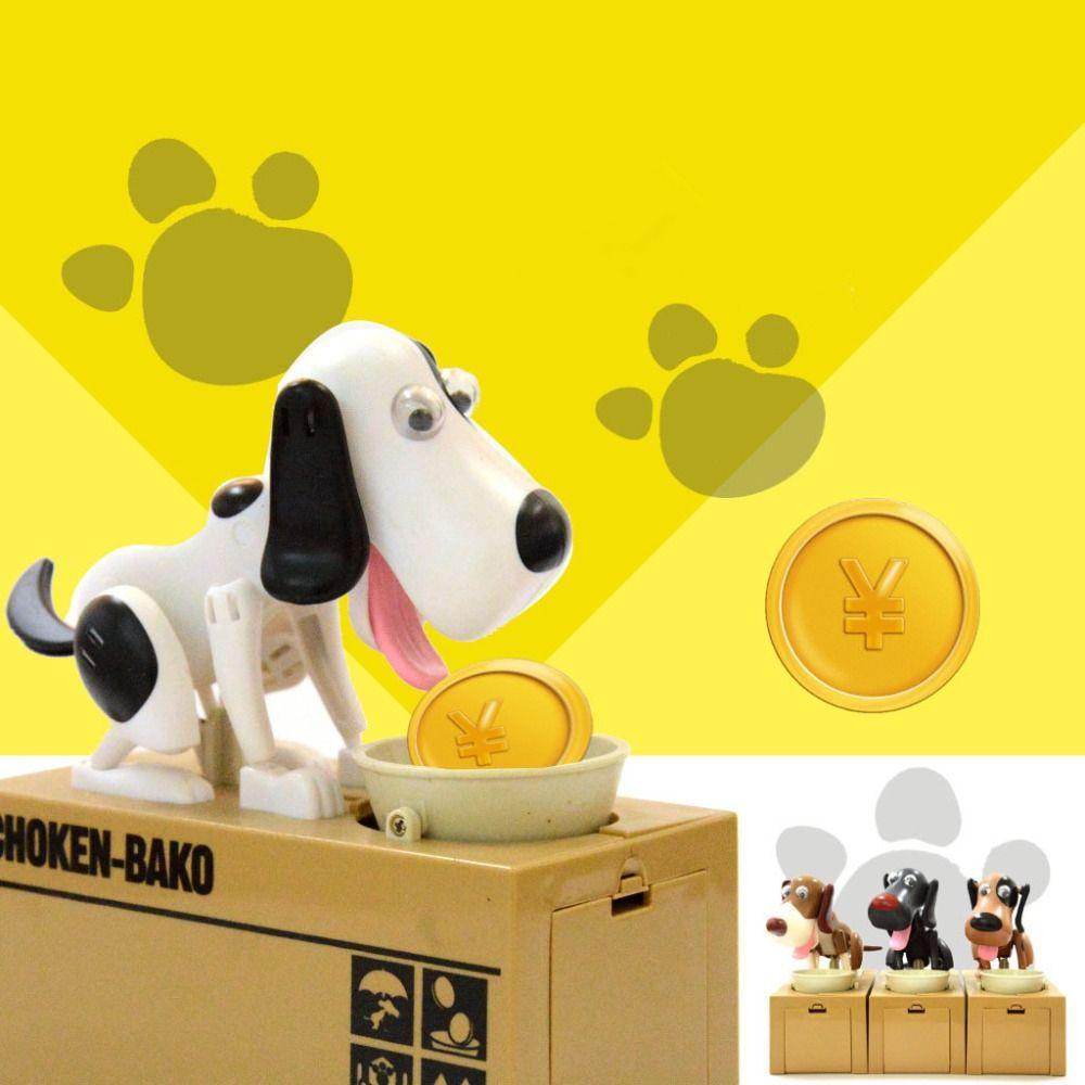 Em estoque Do Cão Filhote de Cachorro Com Fome de Poupança de Banco Coin Comer Save Money Box Canine brinquedo do cão presente de Natal