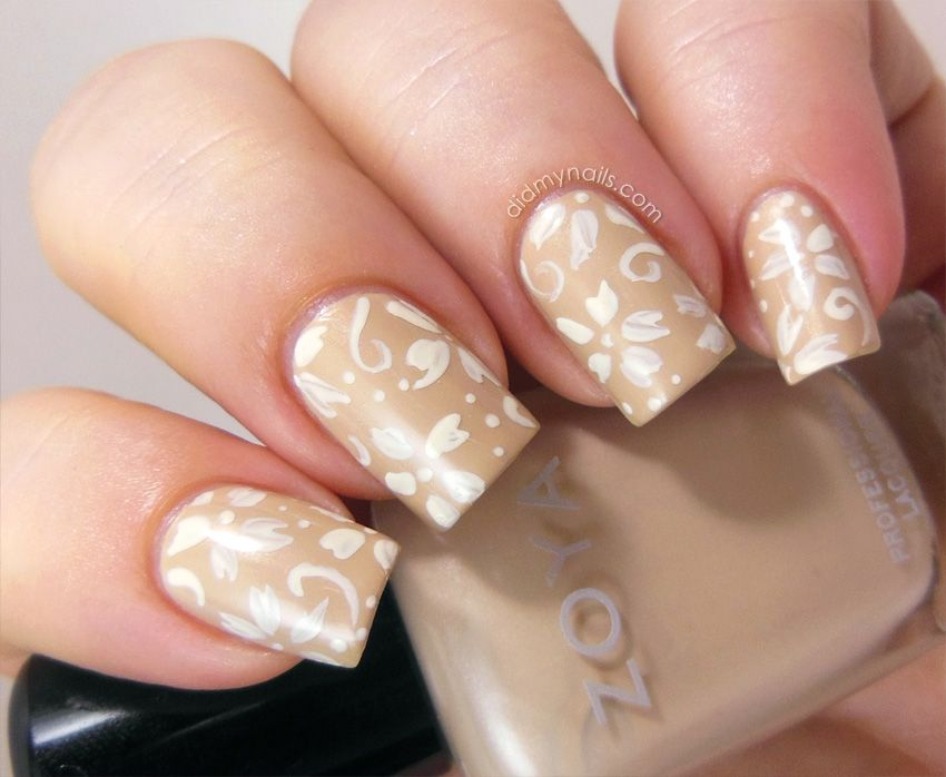 Neutral Color Nails | Flower Pattern Flower Theme Flowers Nail Nail ...