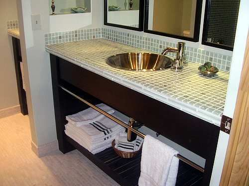 bathroom decor vanity glass tile counter top | bathrooms