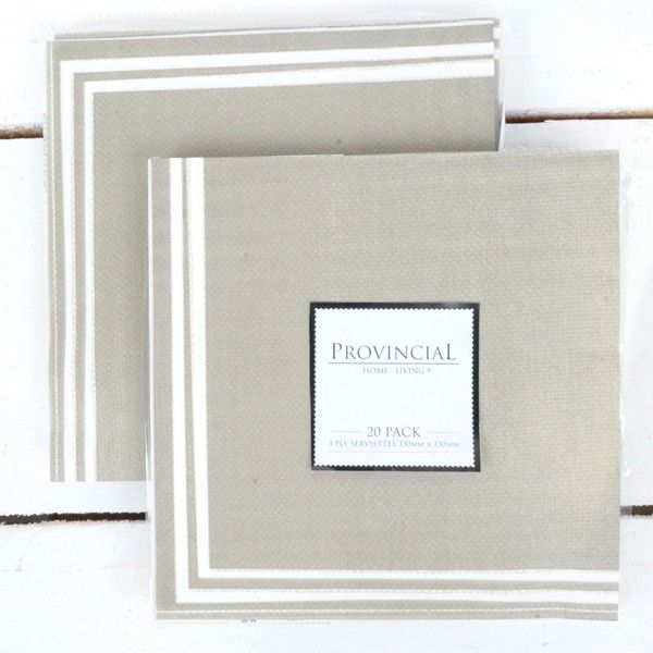 Taupe napkins from Provincial Home Living