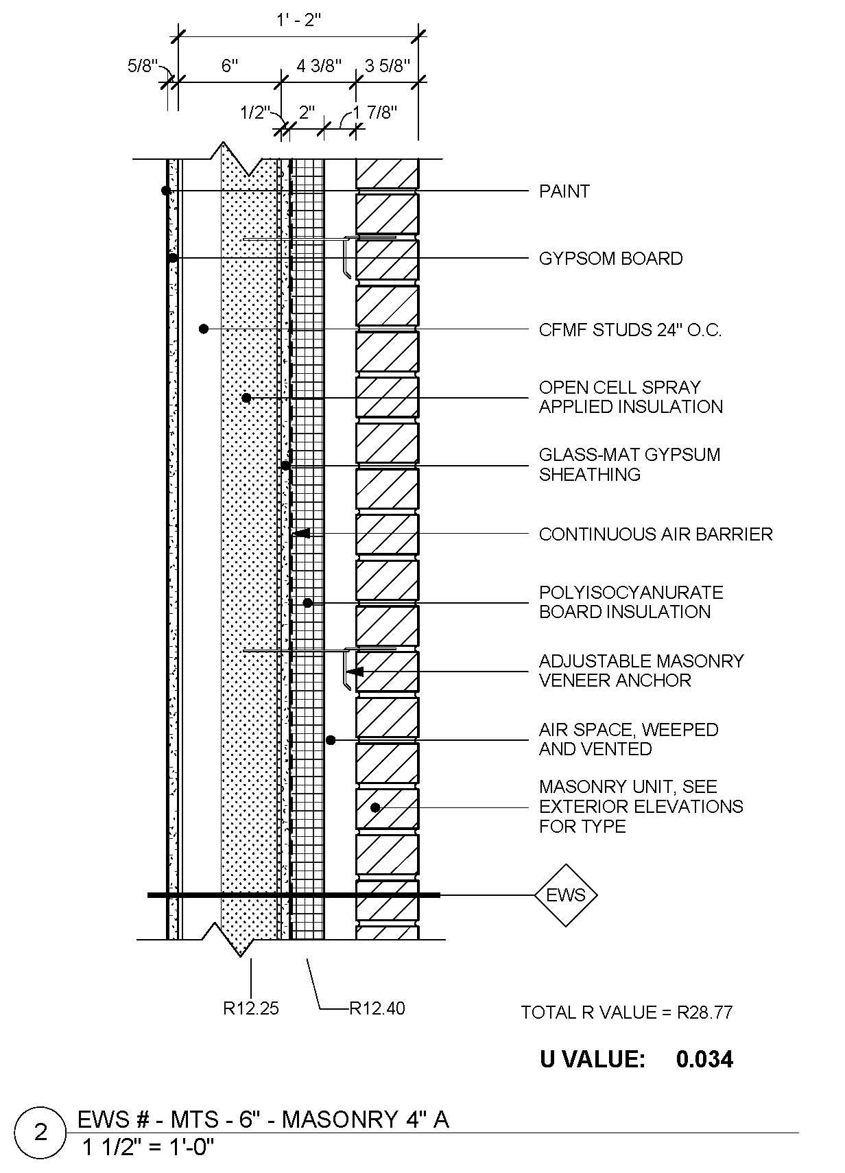Check Out Our Revised Metal Framed Masonry Veneer Standard Wall Detail With A Continuous R Value Of 28 8 Masonry Veneer Brick Design Brick Architecture