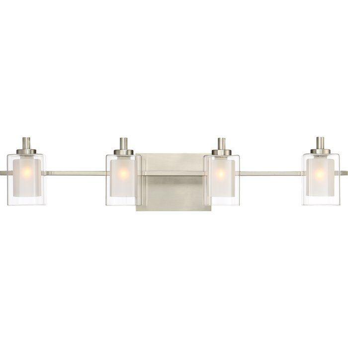 Quoizel Kolt 4 Light Wide Bathroom Vanity Lights With Clear Glass Brushed  Nickel Indoor Lighting Bathroom Fixtures Vanity Light