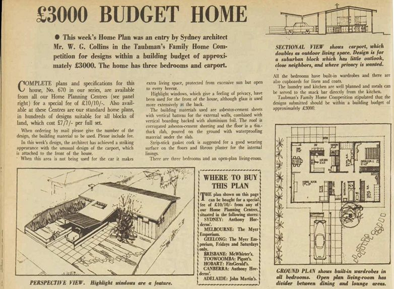 1959 budget home design in australian womens weekly magazine - 1959 Home Design