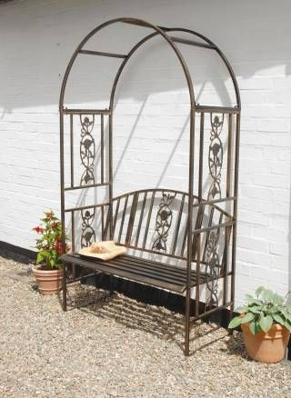 Ordinaire Ornamental Garden Arch And Bench With Cast Iron Insert