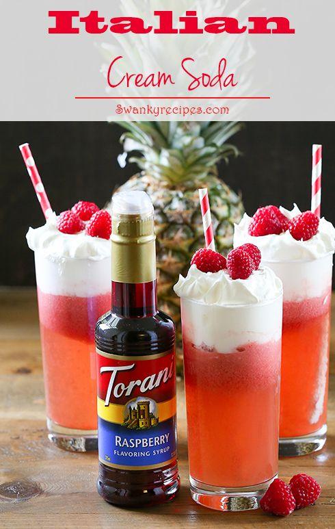 Italian Cream Soda A Fizzy Beverage Made With Sparkling Club Soda Pineapple Juice Torani Raspberry Syru Italian Cream Soda Soda Recipe Torani Syrup Recipes