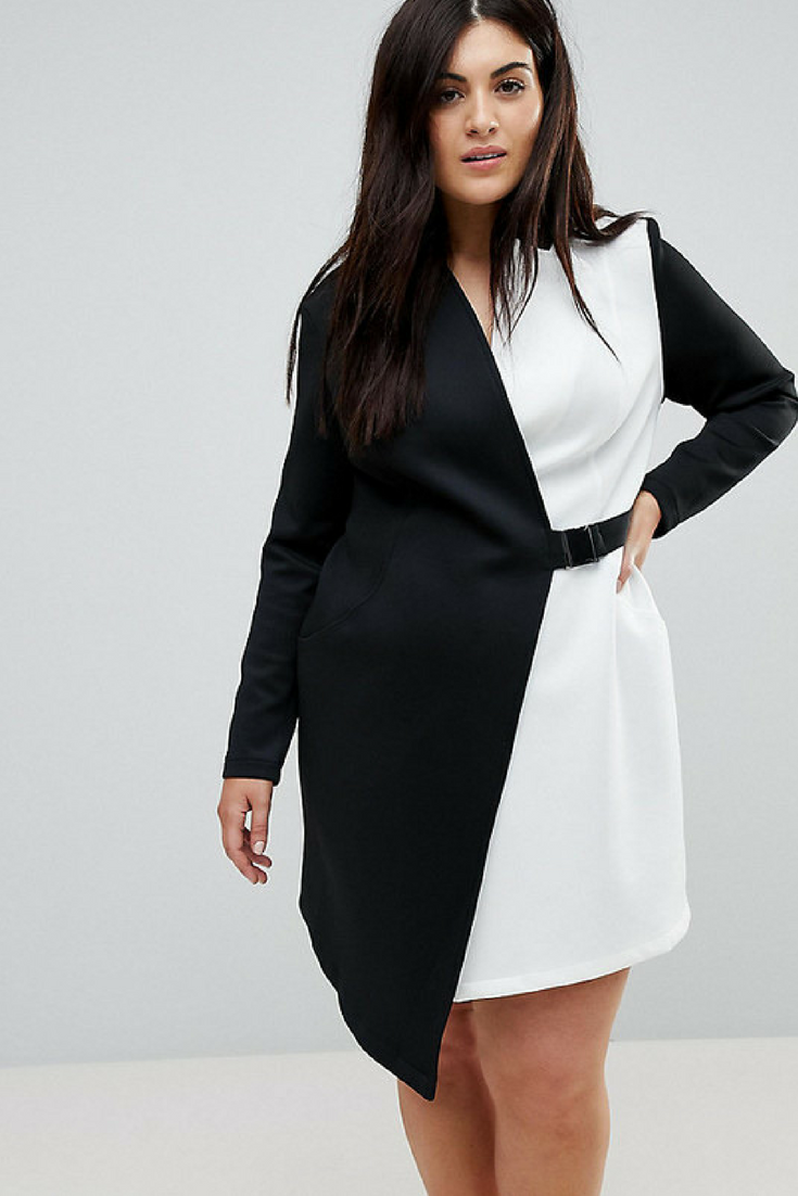 9d435fea5d3f0 Really cute color Block Blazer Dress with Belt. Black and white plus size  blazer dress. Great outfit for a party or office  plussize  ad  blazerdress  ...