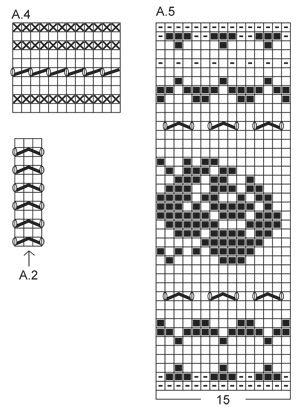"""Settet består av: Strikket DROPS jakke med rundfelling og rosemønster og pulsvanter med rosemønster i """"Alpaca"""". Str S - XXXL ~ DROPS Design"""