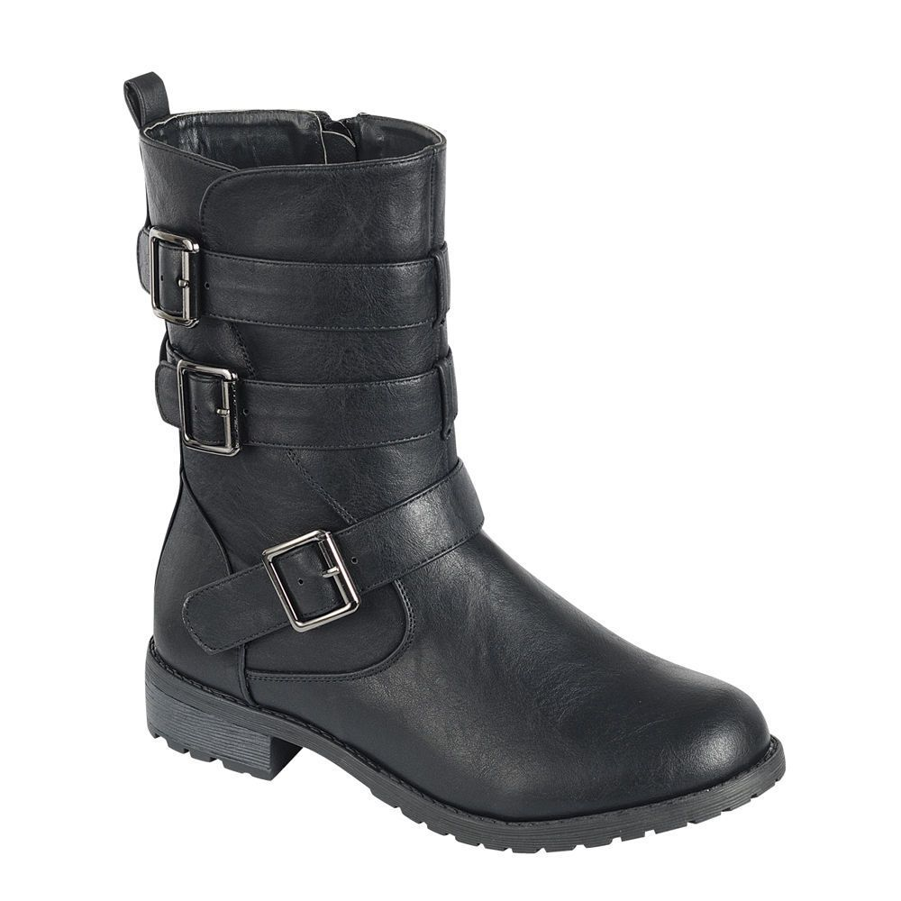 122eff0e7bed Forever Ge31 Women Mid-Calf Multiple Buckle Straps Lug Sole Combat Costume  Boots