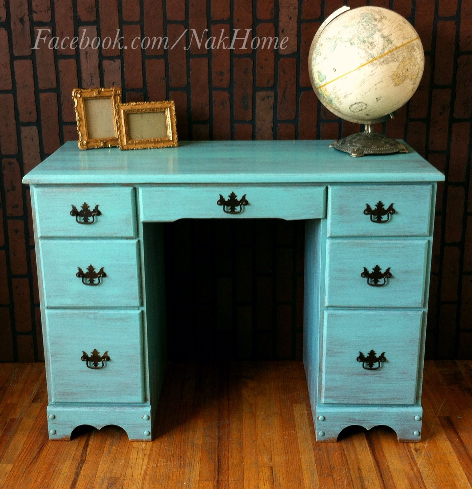 furniture makeover shabby chic turquoise mint blue vintage wood vanity desk hand painted with. Black Bedroom Furniture Sets. Home Design Ideas
