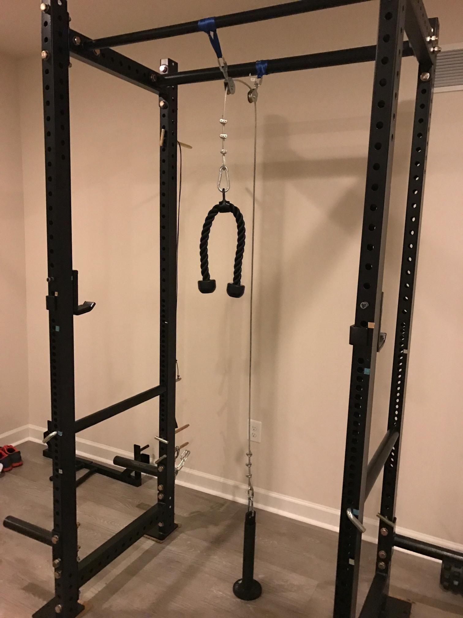 diy lat pulldown and low pulley on a t3 rack fitness pinterest