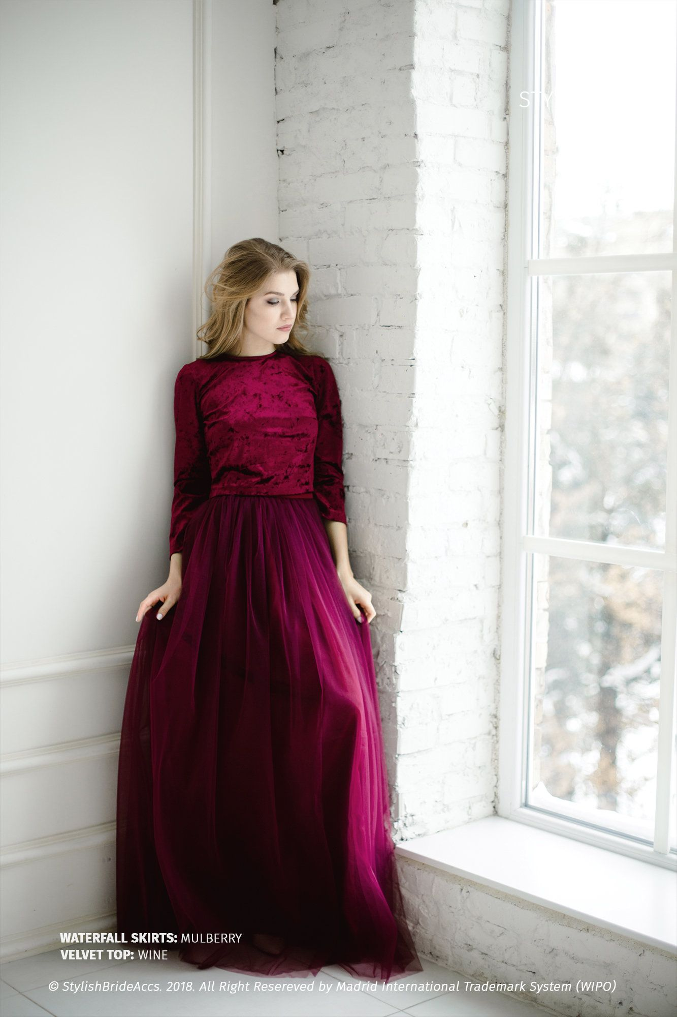 cdaaef67d Wine Velvet Dress, Velvet Wine Crop Top and Tulle Skirt , Wine Engagement  Dress Plus Size by StylishBrideAccs on Etsy