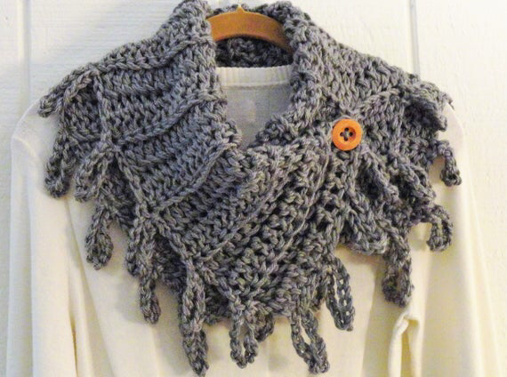 Crochet Scarf Pattern Loopy Fringe Button Cowl Pattern Diy Etsy Crochet Poncho Patterns Crochet Poncho Patterns Easy Scarf Crochet Pattern