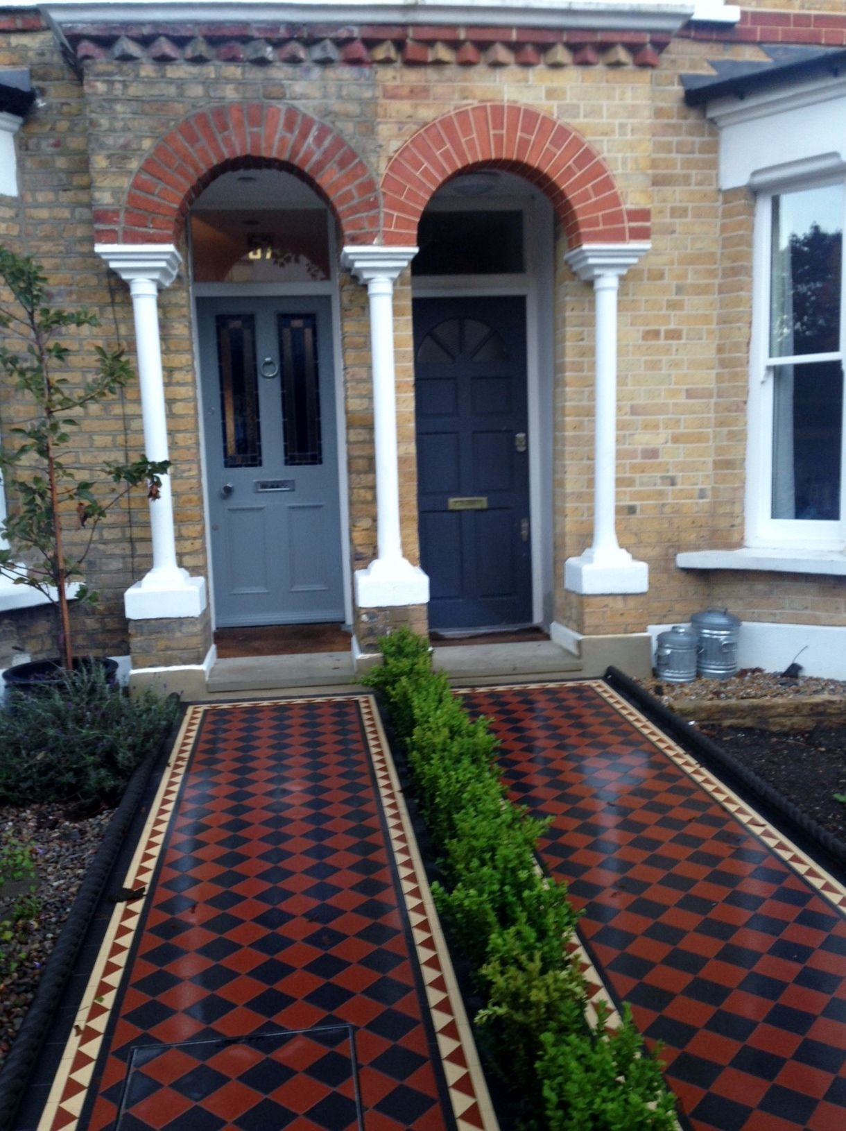 victorian black and red mosaic tile path london front garden