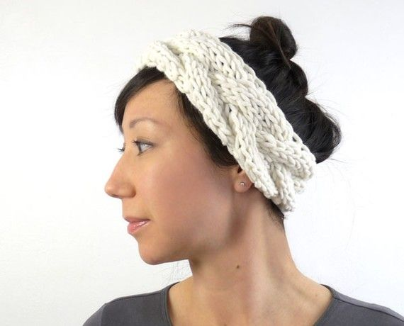 Ballerina Style Chunky Knit Headband Ear Warmer In Soft Porcelain