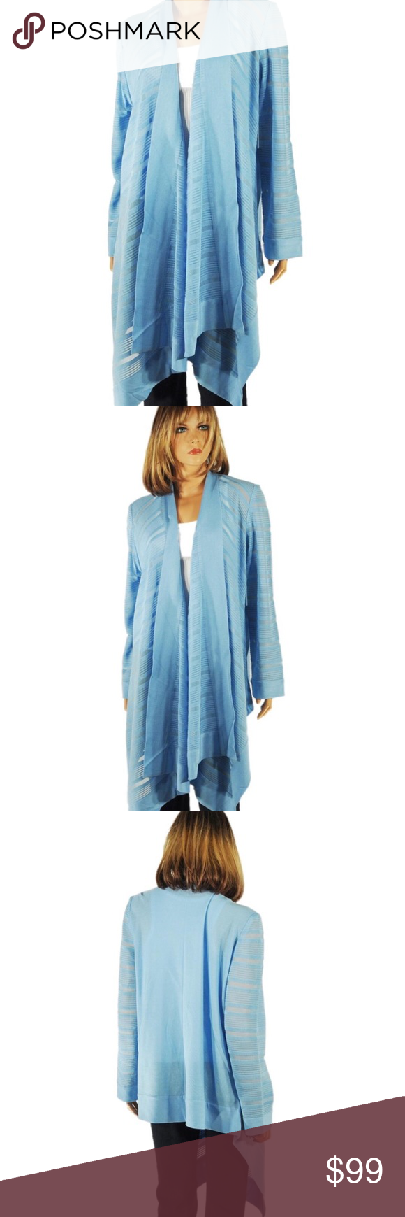 EXCLUSIVELY MISOOK Katherine Powder Blue Knit Open EXCLUSIVELY MISOOK Jacket/Cardigan New with Tag Size 3X Front and sleeves: Acrylic 86%, 9% polyester, 5% nylon  Back: Acrylic 90%, 10% polyester Powder blue Open Front Beautiful sheer illusion panels on the front and sleeves Hand wash and drip dry Pants are for display only and not included No Trades Misook Jackets & Coats Capes