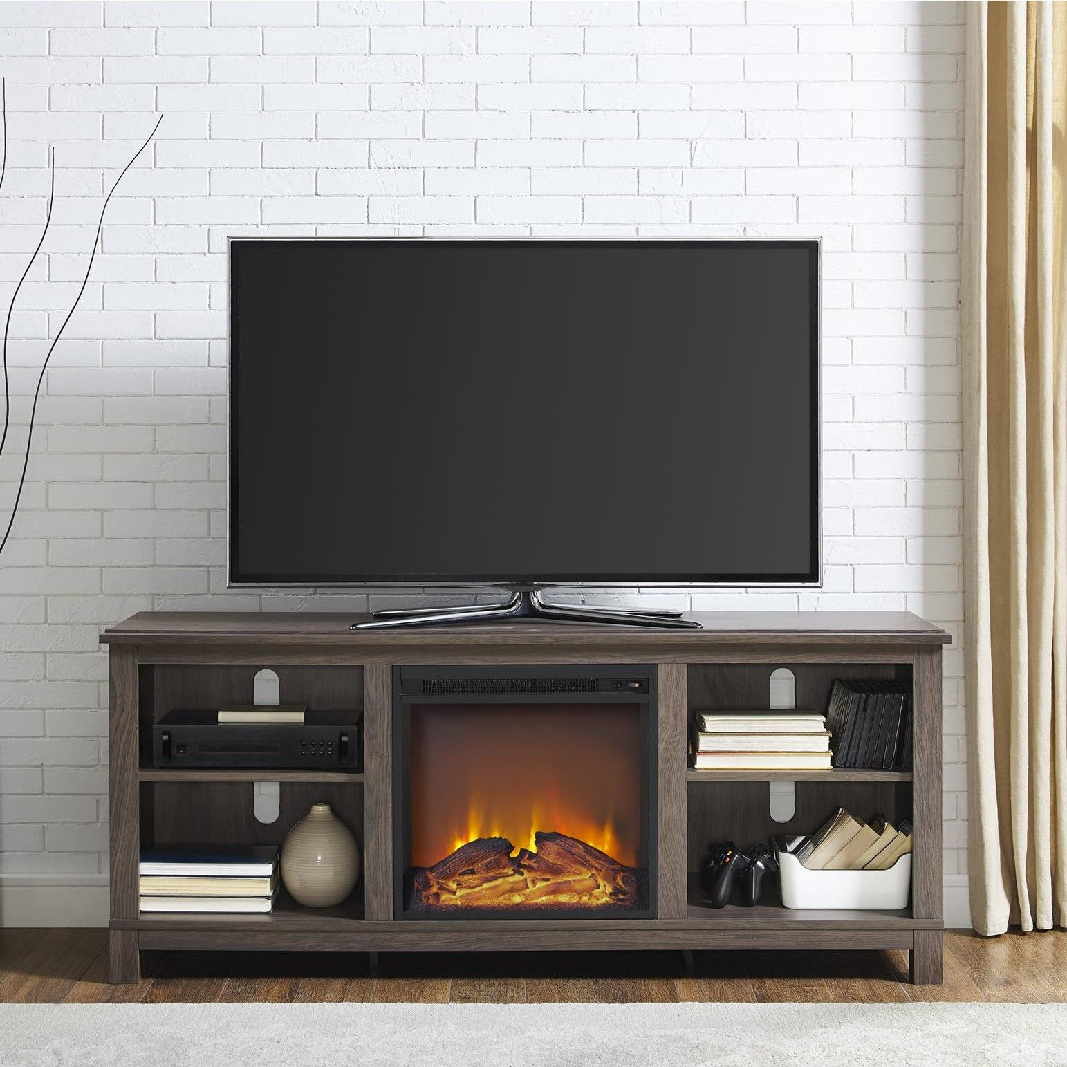 Edgewood tv stand with electric fireplace products pinterest