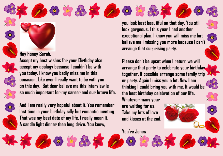 Happy birthday letter to girlfriend with picture | Happy ...