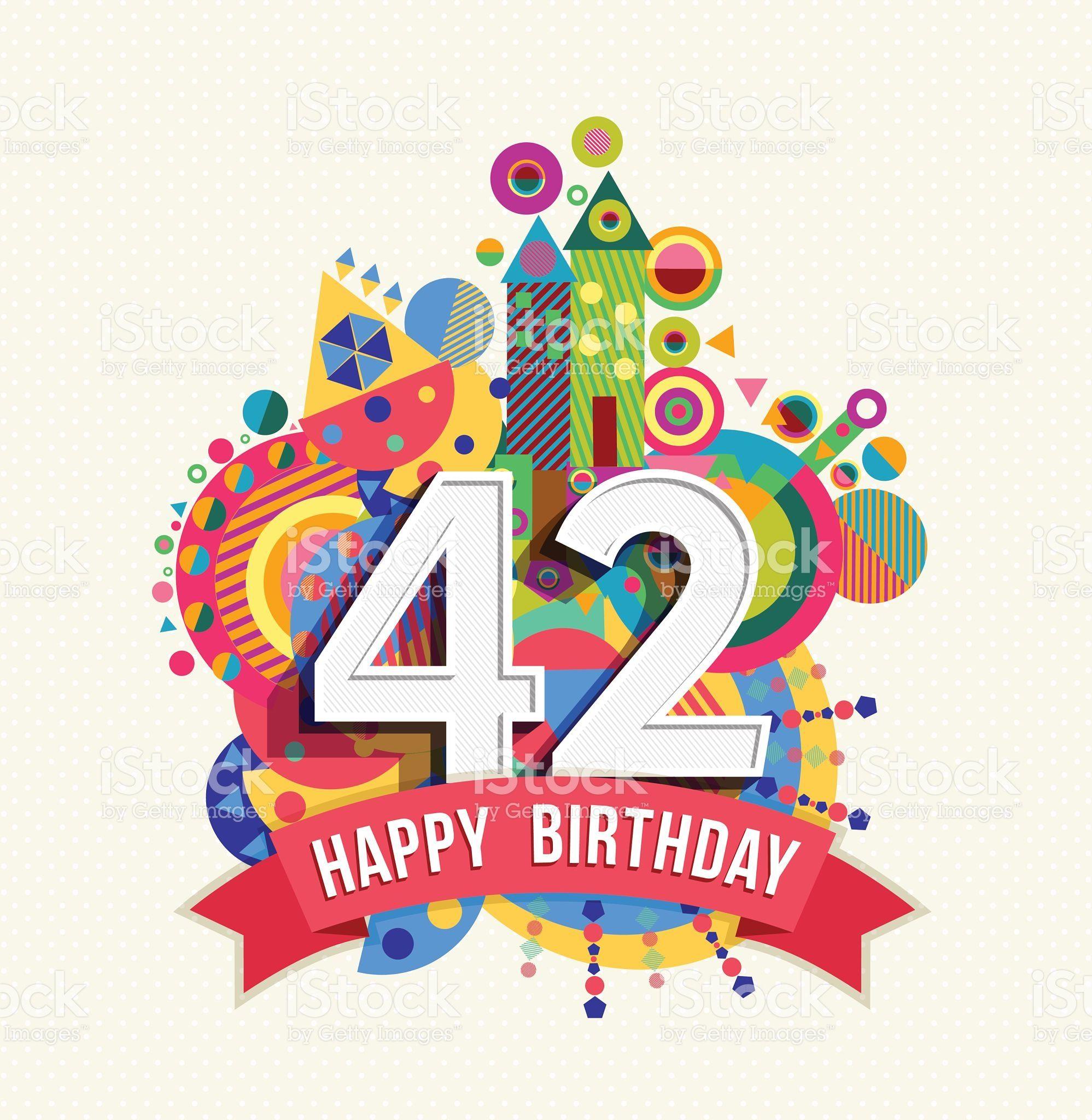 Feliz cumpleaños de 42 años tarjeta de felicitación con dosel de Color illustracion libre de derechos libre de derechos
