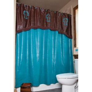 Turquoise Chocolate With Crosses Shower Curtain Western Home