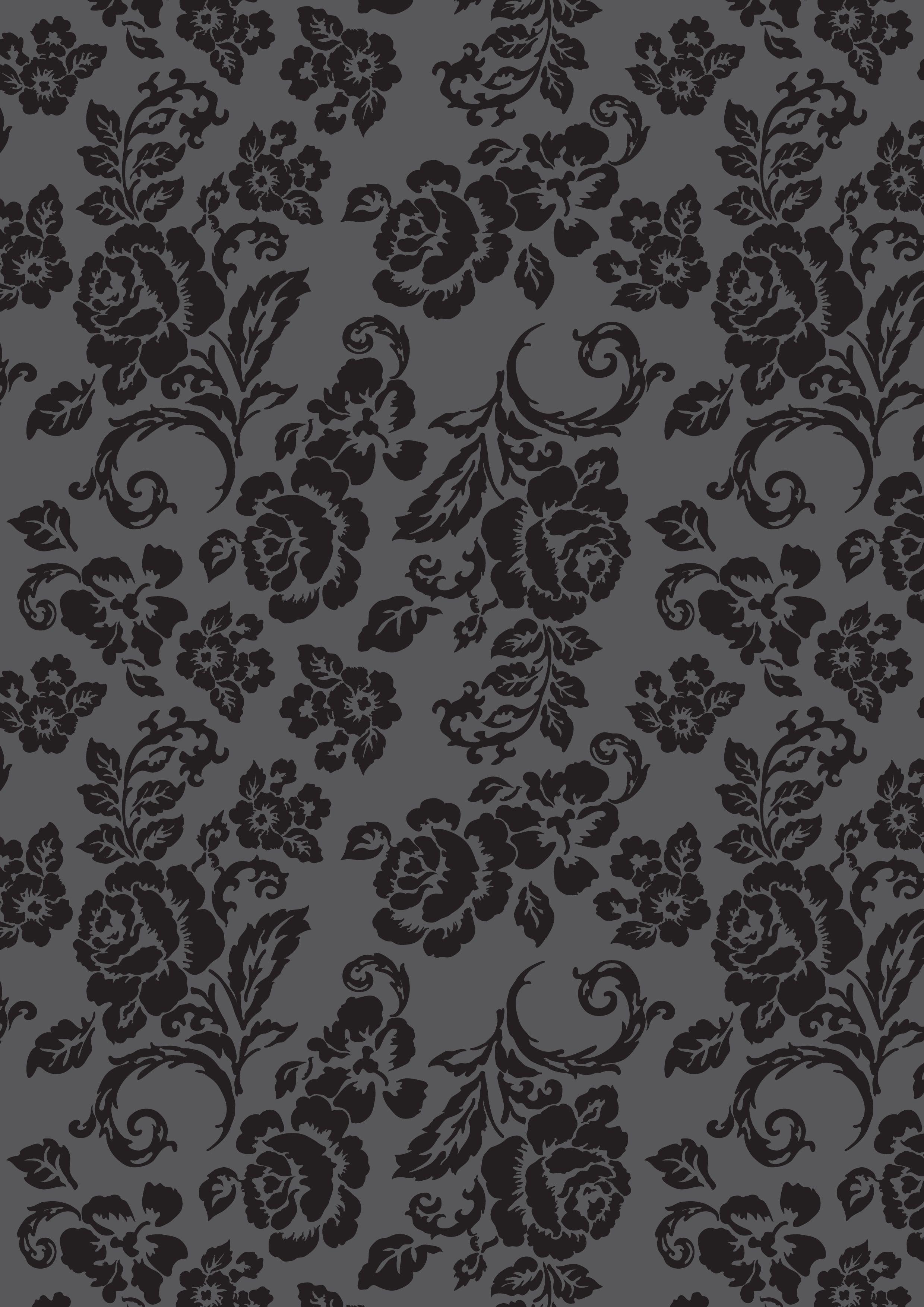 Black floral rose pattern on dark grey. Print for