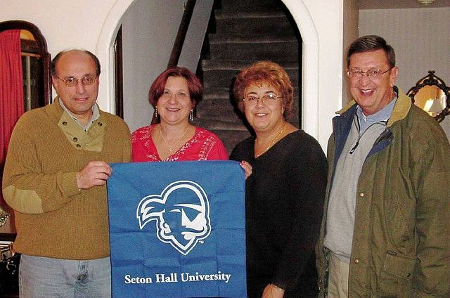 John Dearani '75, Linda Kreiger Dearani '72, Hariet Chaderes Schumann '70, and Harriet's husband Don Schumann pose.