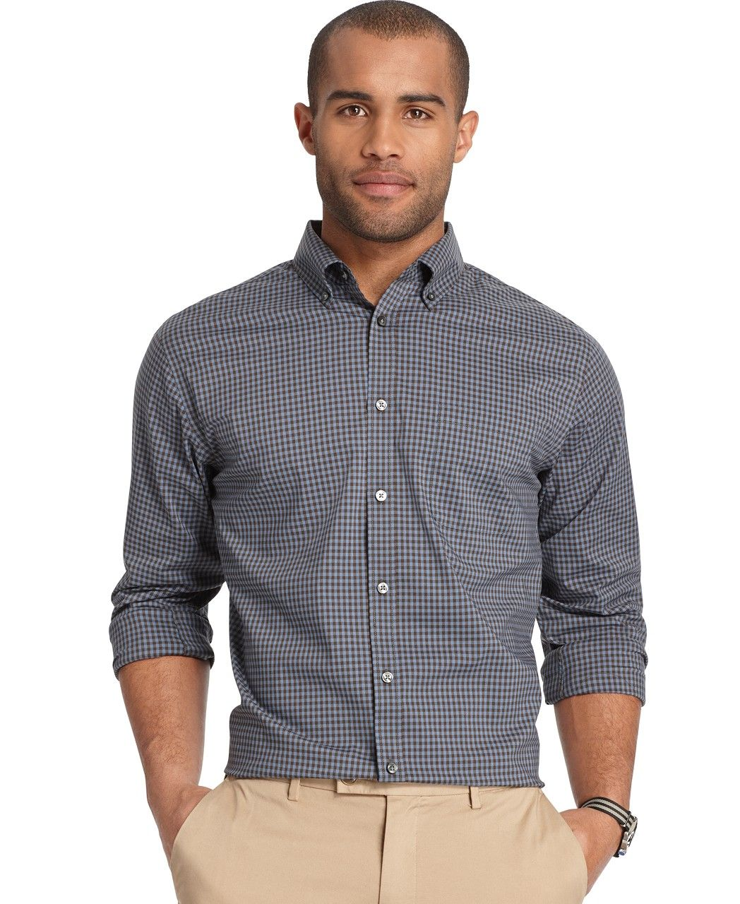 Black, Check Casual ButtonDown Shirts Macy's Mens