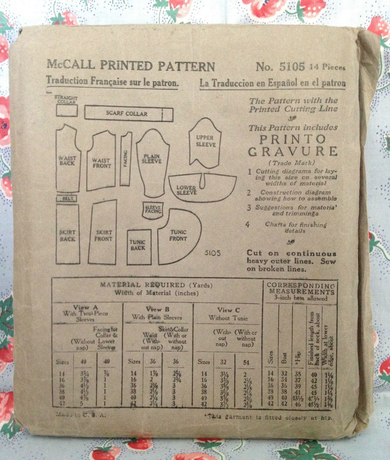 Antique 20s McCall 5105 Dress Sewing Pattern Vintage ...