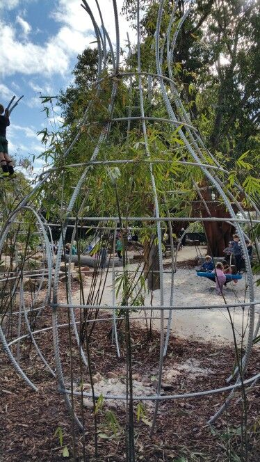 Bamboo cubby structures @ Braithwaite Park Natureplay area in Mt Hawthorn