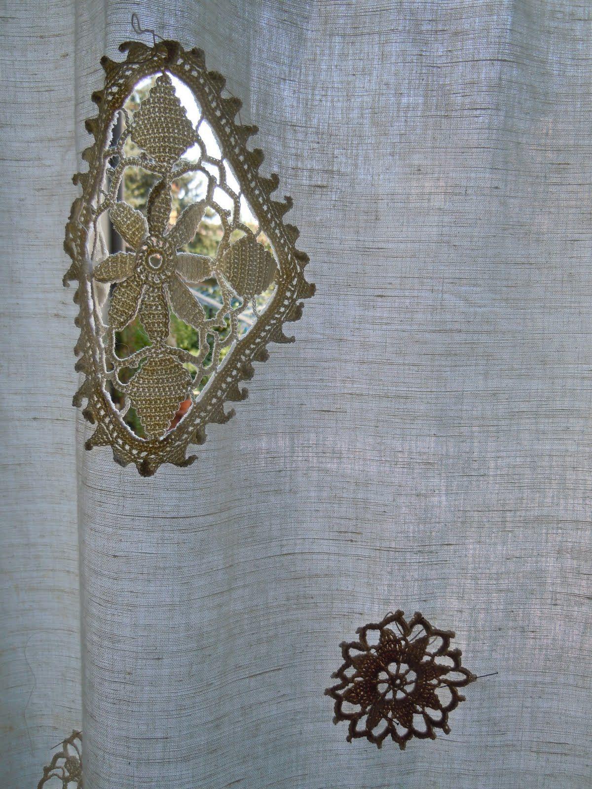 Linen Curtain Crochet Insert Detail Drapes Curtains