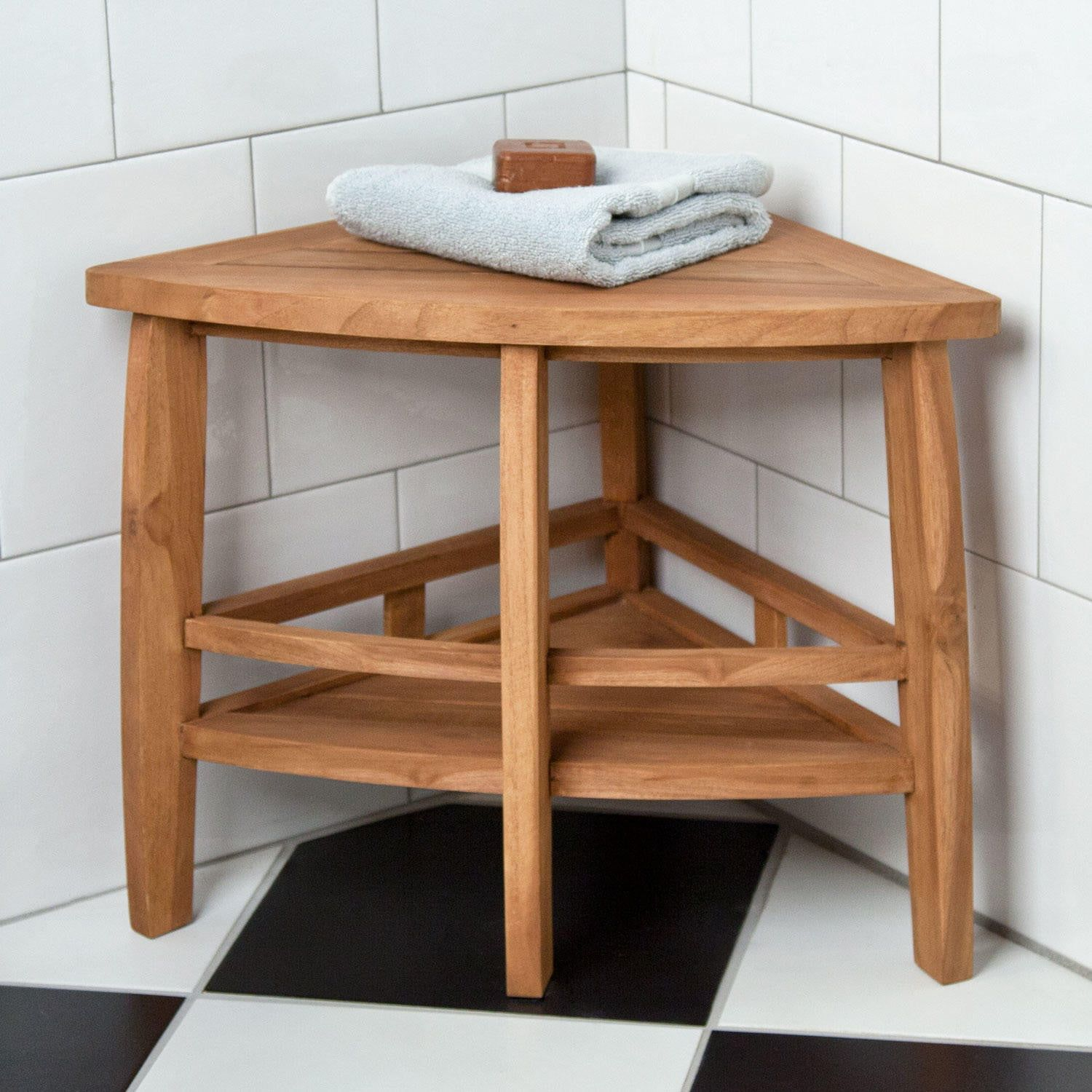 Teak Corner Shower Seat With Shelf Shower Seats Bathroom