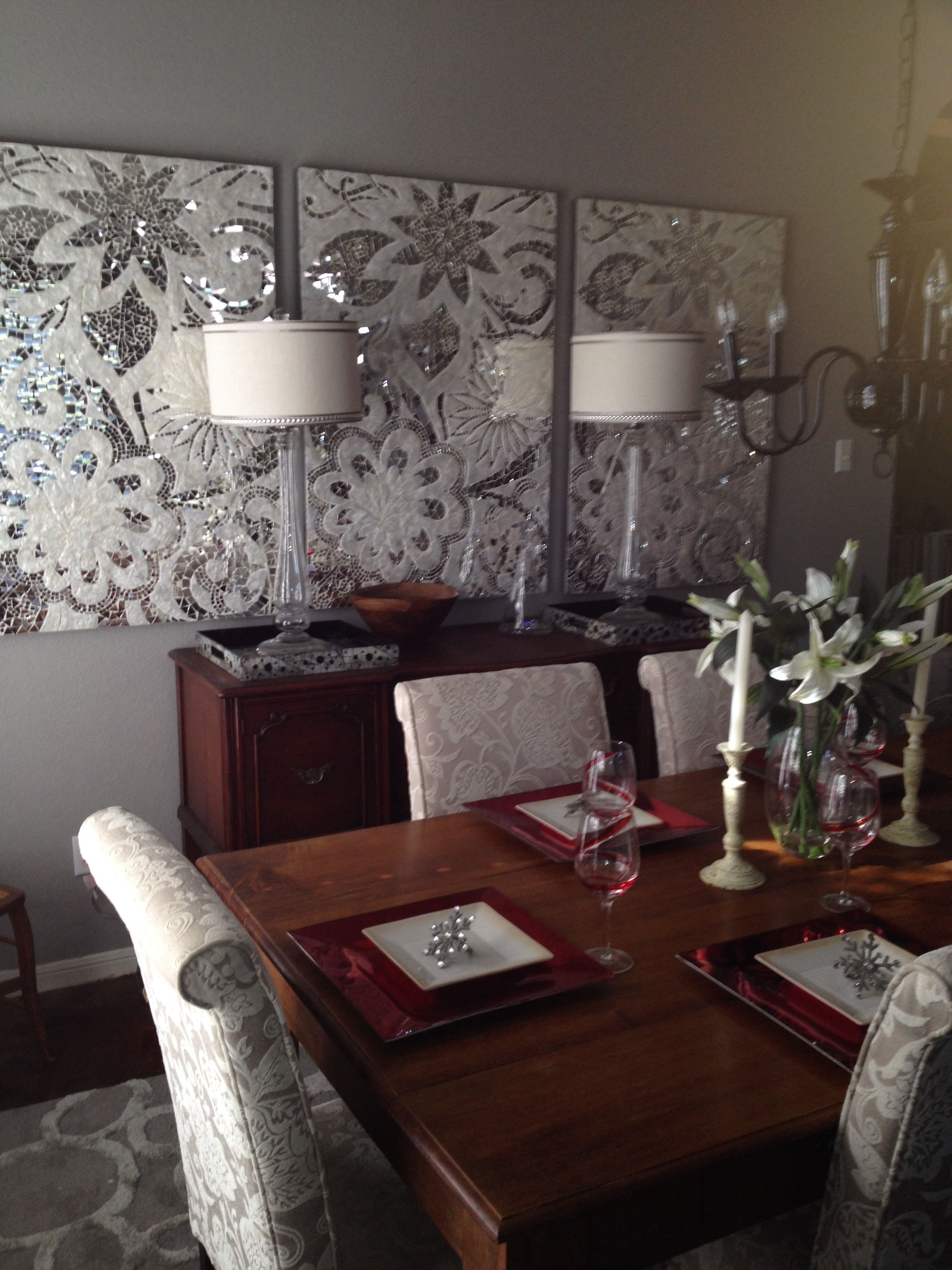 Spray painted chandelier, Pier 1 Capiz wall panels, glass ...
