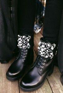 Botki Perly Krysztalki Workery Czarne Boots Shoes Biker Boot