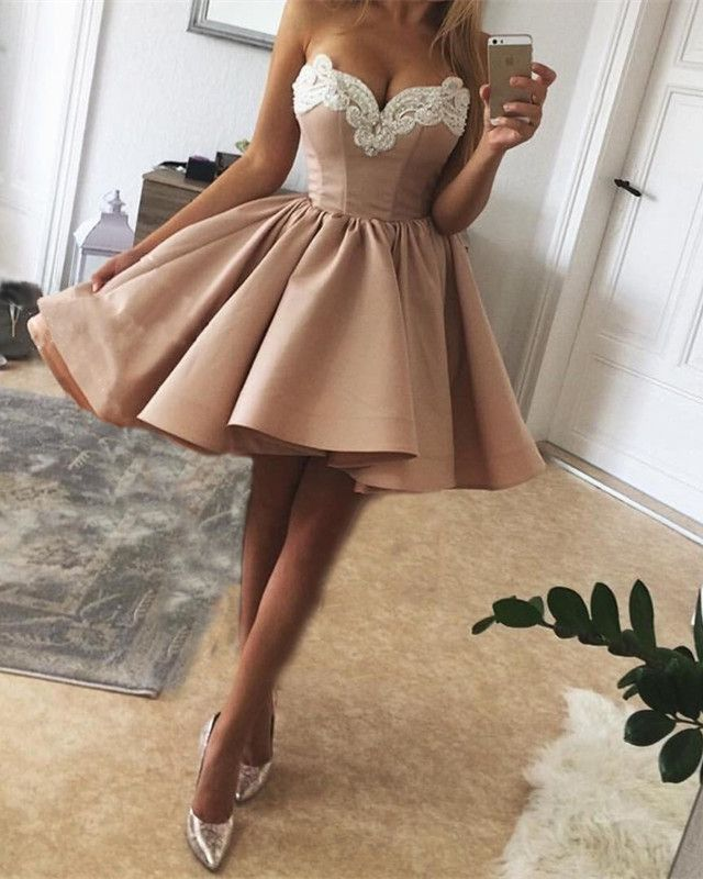 Elegant Pearl Embroidery Sweetheart Nude Pink Satin Homecoming Dresses  Short Prom Gowns 2018 328659bdd13a