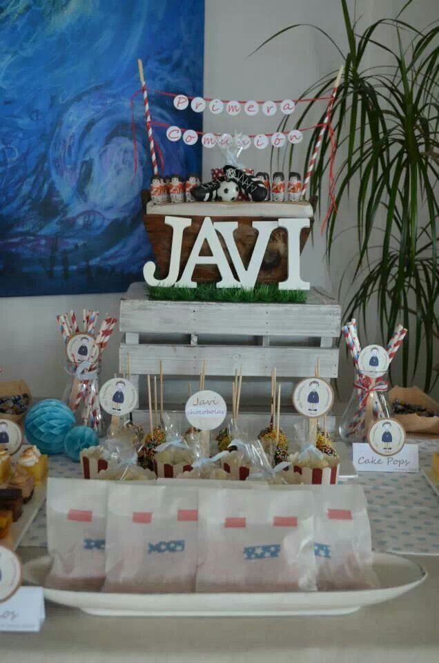 Mesa dulce comuni n ni o by dpf motivo f tbol comunion - Ideas para mesas dulces de comunion ...
