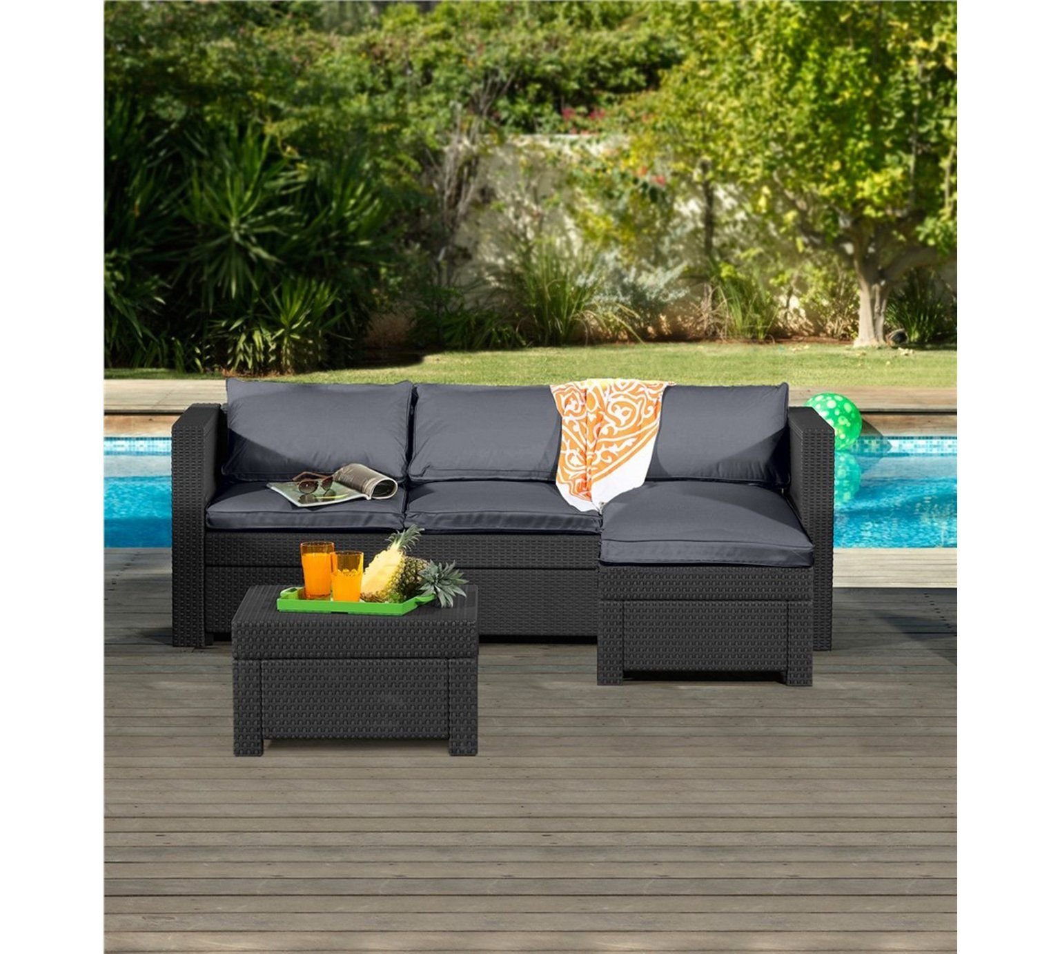 Keter Oxford Rattan Effect Outdoor Corner Sofa Graphite
