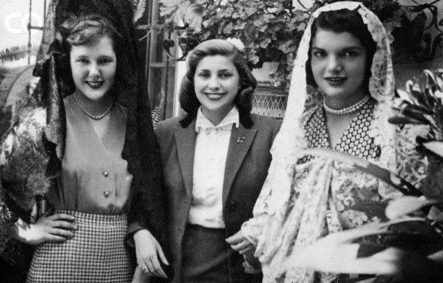 "thosekennedys: "" Jacqueline Bouvier in Cordoba, Spain during her first trip to Europe in 1947. """