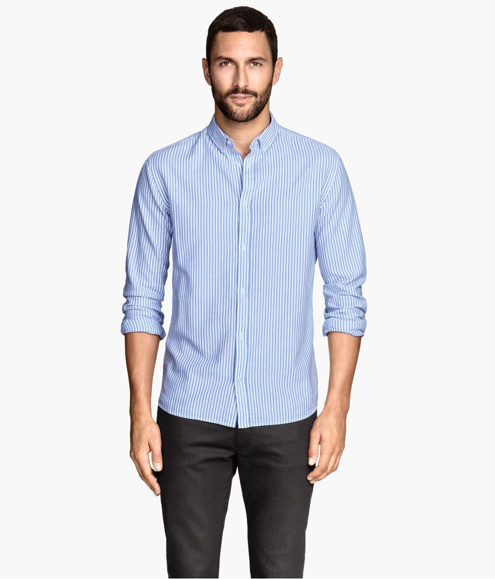 Blue shirt with Oxford-weave cotton and button-down collar. | H&M ...