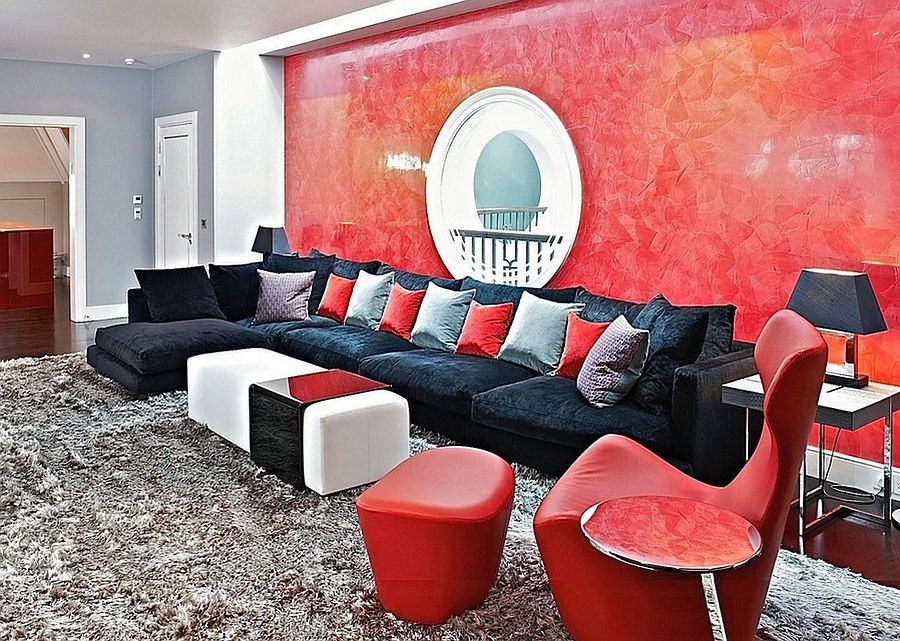 Marvelous Living Rooms Of Tantalizing Red With Grey And Red Wall Black  Sofas Colorful Pillow White Table Grey Rug Wooden Floor