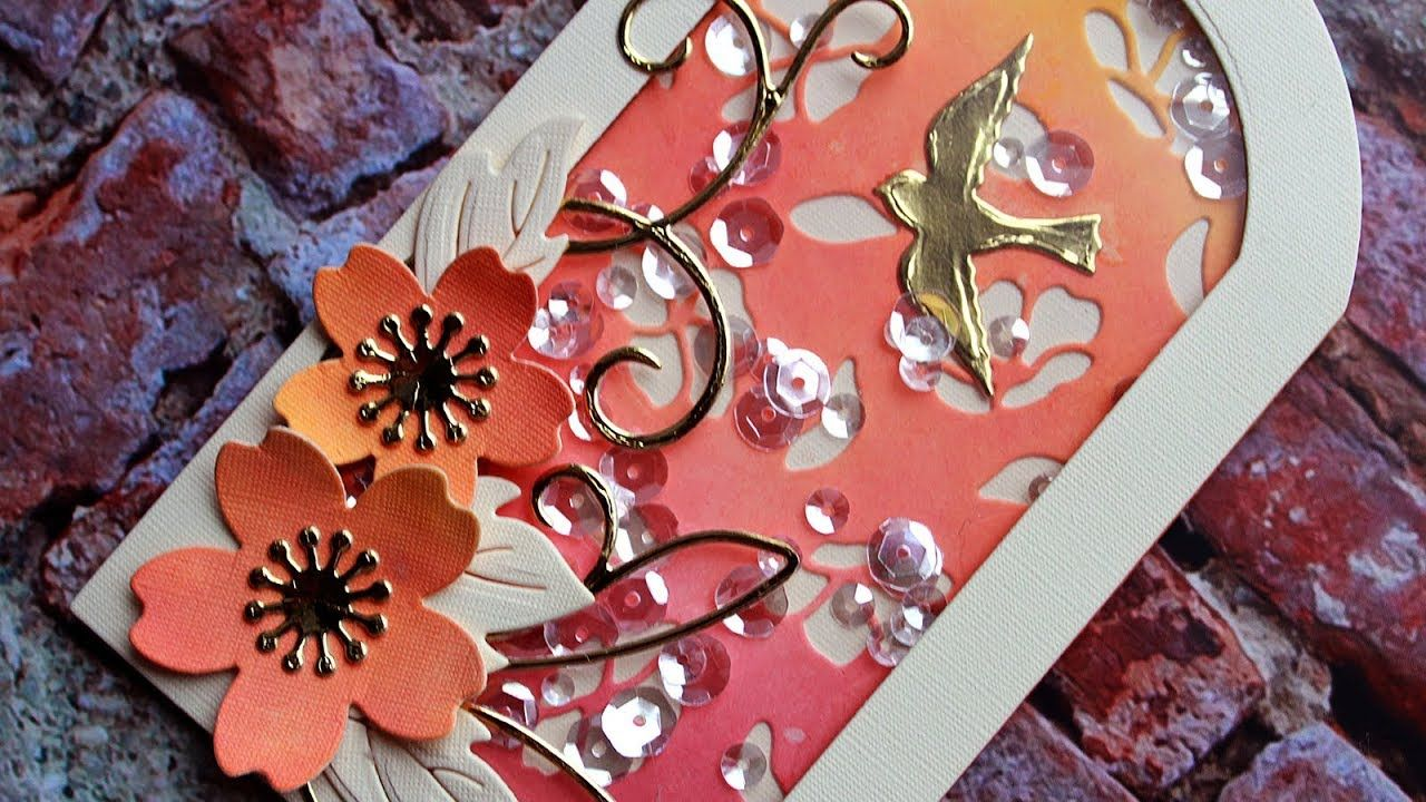 Spring Dawn Shaker Tag Featuring Paper Discovery Dies Shaker