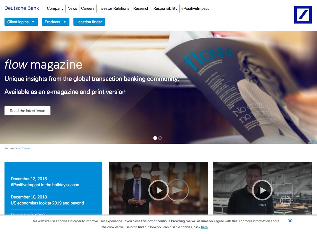 Deutsche Bank Homepage Policy Management Investor Relations Location Finder