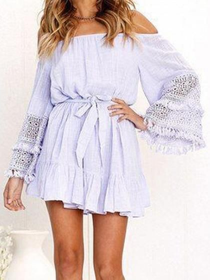 8441cf2e972 Light Purple Off Shoulder Tie Waist Flare Sleeve Chic Women Mini Dress –  risechic.com