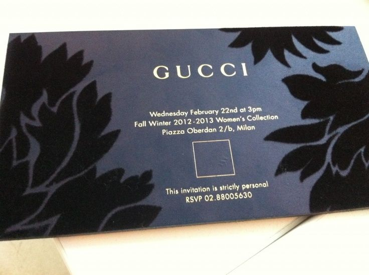 Gucci Invite Velvet Over Board Card With Gold Foil Text