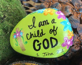 TODAY will be WONDERFUL -garden stone, painted rocks, hand painted stones, rock art, good luck charms, flower stone, gift, birthday, mother -   14 garden inspiration stone
