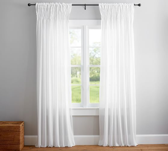 Organic Cotton Smocked Voile Curtain. Paired With A Clear Shower Curtain  Liner. Machine Washable